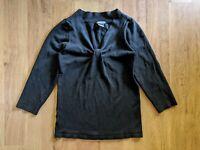 Ann Taylor Women XS Black Front Knot Top Silk Blend 3/4 Sleeve