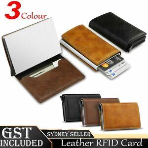 New Leather Credit Card Holder Men's Money cash Wallet Clip RFID Blocking Purse
