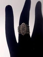 Rare ancienne bague semainier 7 anneaux en argent massif T45