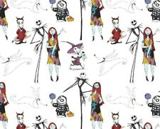 FAT QUARTER FABRIC  NIGHTMARE BEFORE CHRISTMAS JACK & SALLY CHARACTER COTTON  FQ