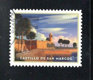 2021 Sc #5554 $7.95 Castillo de San Marcos Priority Mail canceled off paper