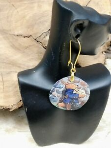 SARITOOSH 2 Upcycled S.BEAR Tin Sterling Gold Earrings Sustainability