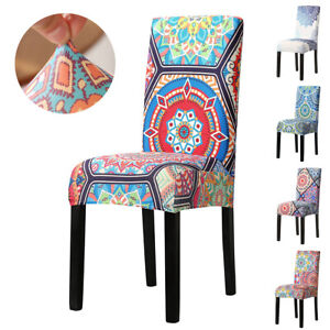 UK Dining Chair Seat Covers Slip Spandex Stretch Wedding Banquet Party Removable