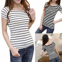 JW_ BE_ Women Slim Round Neck Short Sleeve Tee Shirt Striped T-shirt Blouse To