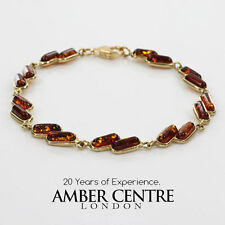 ITALIAN MADE  BALTIC AMBER BRACELET IN 9CT GOLD -GBR057 RRP£450!!!