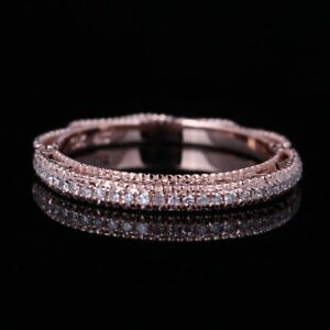 Solid 10K Rose Gold Pave Setting Diamond Unique Band Filigree Wedding Fine Ring