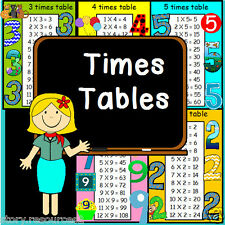 1 to 12 TIMES TABLE POSTERS MATHS TEACHING RESOURCE CLASSROOM  DISPLAY on CD ROM