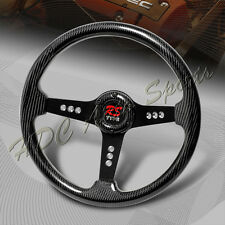 350MM 6-Hole Real Full Carbon Fiber Black 3-Spoke Sport Steering Wheel Universal