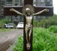 Large Wood VINTAGE Bronze Jesus St.Benedict wall CROSS Crucifix Religion Gift