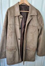 AC Faux Suede Lightweight Jacket Italian L Tan Suede Coat