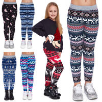 Girl's Warm Thick Fleece Lined Leggings Kids Uniqe Christmas Patterns Pants FS69