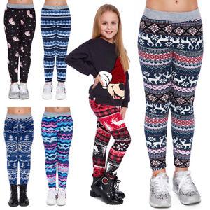 Girl's Warm Thick Fleece Lined Leggings Kids Uniqe Christmas Patterns Pants FS69