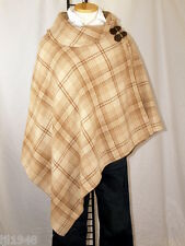 Ralph Lauren Lauren Cream Camel Plaid Cape Poncho Wool Blend NWT