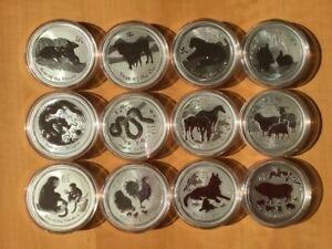 Australien lunar II 12 x 1 oz Silber Maus / Ochse / Tiger / Drache etc. + Box