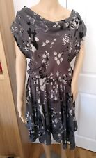 💗 Mint Velvet Grey Printed Dress 100% Silk UK 10 Lightweight Asymmetrical