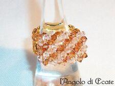 Idea regalo ANELLO artigianale donna cristalli Swarovski perline color oro