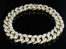 "10K Yellow Gold Pave Round Cut 12 MM Diamond Miami Cuban Bracelet 8.5"" (6.0Ct)"
