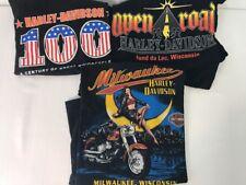 3 Harley Davidson Mens Size M Black T-Shirts Wisconsin Short Sleeve Graphic Tees