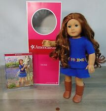"MIB American Girl 18"" SAIGE DOLL & MEET OUTFIT Dress BOOK Red Hair Blue Eyes BOX"