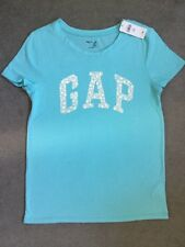 GAP TURQUOISE T.SHIRT WITH LOGO ACROSS IN SILVER DOTS & WHITE FLOWERS -13y BNWT