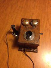 RARE Vintage & Collectible DEVEAU Oak Wall Phone Candlestick Antique Hand Crank