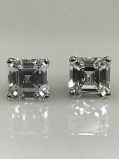 White Sapphire Asscher Cut 2.00ctw. Stud Earrings With Screw Backs 14k WG  #5019