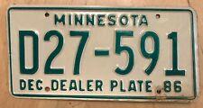 "1986 MINNESOTA NEW CAR USED DEALER LICENSE PLATE  "" D 27 591 ""  MN 86 DLR"