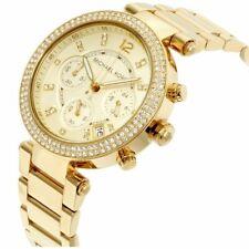 Gold Tone Michael Kors MK5354 Parker Chronograph Crystal Wrist Watch for Women