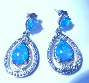 UK**NEW* 925 SILVER GORGEOUS BLUE FIRE OPAL/CZ 2 STONE EARRINGS  30 X 14 mm