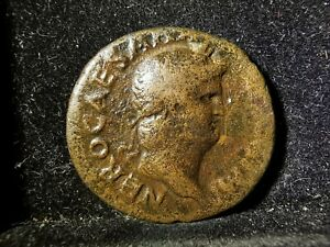 Nero (54-68 AD), Bronze As, Victory Flying Holding Shield, F, JU1561