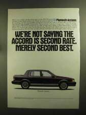 1991 Plymouth Acclaim Ad - Accord Merely Second Best