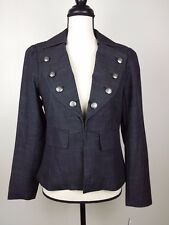 NEW Larry Levine Women's Blazer Jacket Size S Small Black Gray Buttons Career