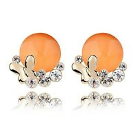 18K Gold Plated Simulated Opal Butterfly Round Orange Stud Earrings Jewellery