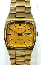 Seiko Quartz Gold Case Band Water Resistant Mens Watch 4633-5019