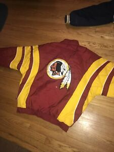 Vintage 90s Washington Redskins Starter Puffer Jacket RARE Colorblock Red XL