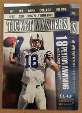 Peyton Manning / Marshall Faulk 1998 Leaf Rookie & Stars #YPC Ticket Masters