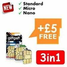 Giffgaff o2 3in1 * Standard, Micro, Nano Sim * FREE £ 5 Credit FREE UK POSTAGE