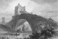 ITALY Rome Ponte Salaro - 1861 Engraving Antique Print