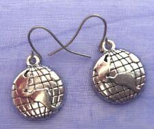Detailed Silver Tibetan Nature Travel World Globe Drop Earrings Free Shipping