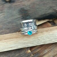 Blue Topaz  925 Sterling Silver Spinner Ring Meditation Statement Jewelry A3