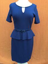 MARKS and SPENCER black short sleeves business/corporate/work peplum dress,s.10