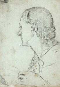 ELMA MARY GOVE (1832-1921) - Antique Drawing FEMALE PORTRAIT - AMERICAN ARTIST
