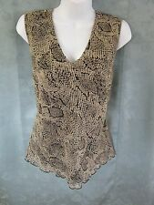 Vintage 90's Casual Corner Top Size 16 Sleeveless Reptile Print Sheer Lined