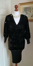 Authentic ROBERTO CAVALLI Black Cashmere Sequin Batwing Dress Top FR38 UK10