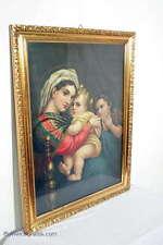Zuaberhaftes antikes Marien Farbbild / Jesuskind u. Maria / Prunkrahmen