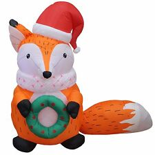 Christmas Air Blown LED Inflatable Yard Garden Decoration Fox X'mas Hat & Wreath