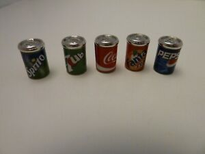 Dolls House Kitchen Shop Accessory Miniature 1:12th 5 Metal Cans of Soft Drinks