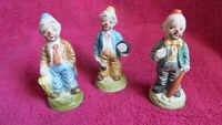 Vintage Ceramic Porcelain Hobo Clown Figurines Set Of 3 Made In Taiwan