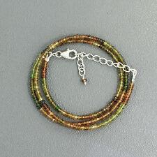 "Petro Tourmaline Gemstone 925 Sterling Silver 3mm Beads Necklace Adjust Size 18"""