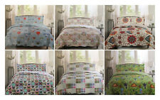 QUILTED BED SPREAD | PATCH WORK COLOURFUL 3 PIECE FLORAL BEDDING